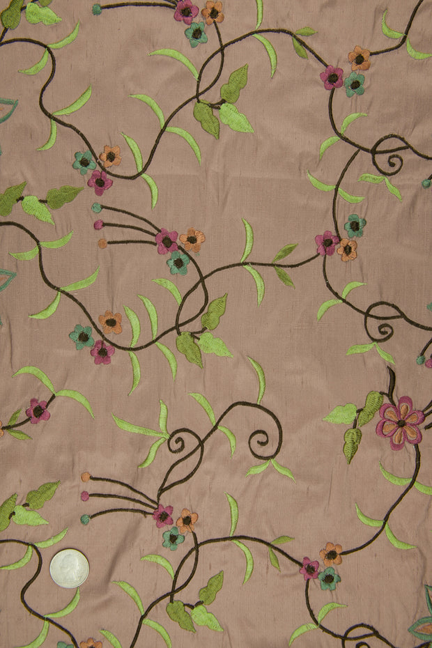 Embroidered Dupioni Silk MED-158 Fabric