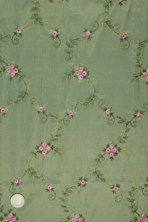 Embroidered Dupioni Silk MED-164/12 Fabric