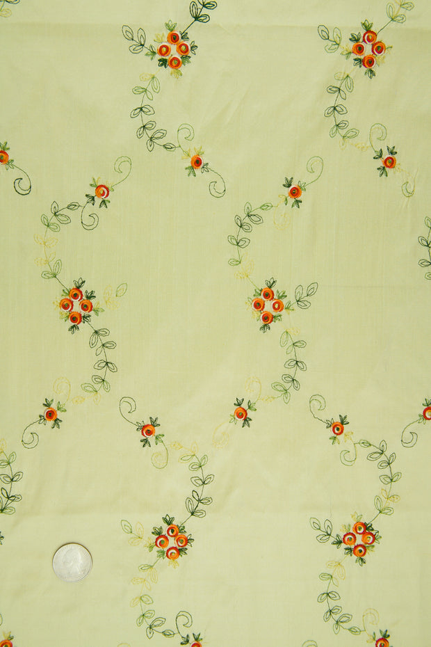 Embroidered Dupioni Silk MED-164/1 Fabric