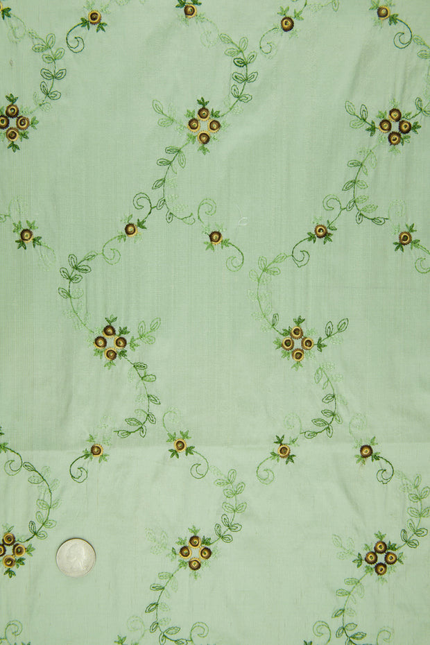 Embroidered Dupioni Silk MED-164/2 Fabric