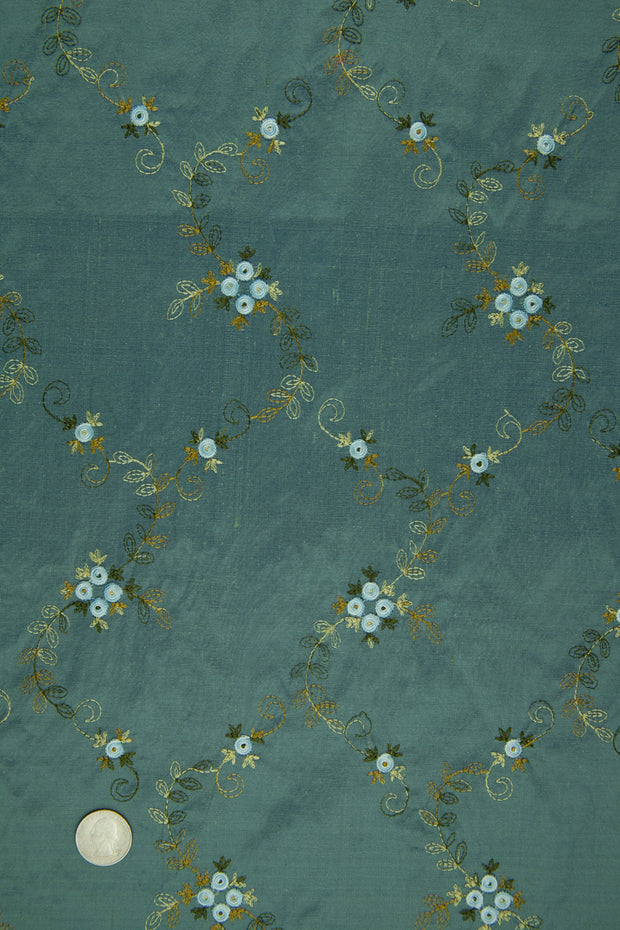 Embroidered Dupioni Silk MED-164/9 Fabric
