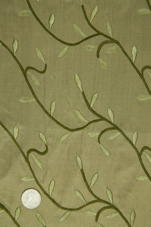 Embroidered Dupioni Silk MED-168 Fabric