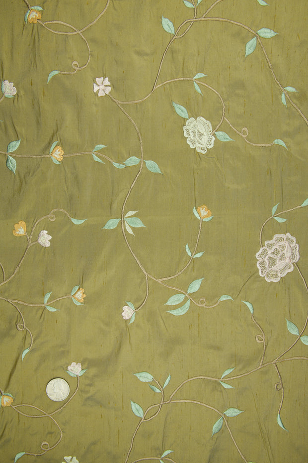 Embroidered Dupioni Silk MED-169/4 Fabric