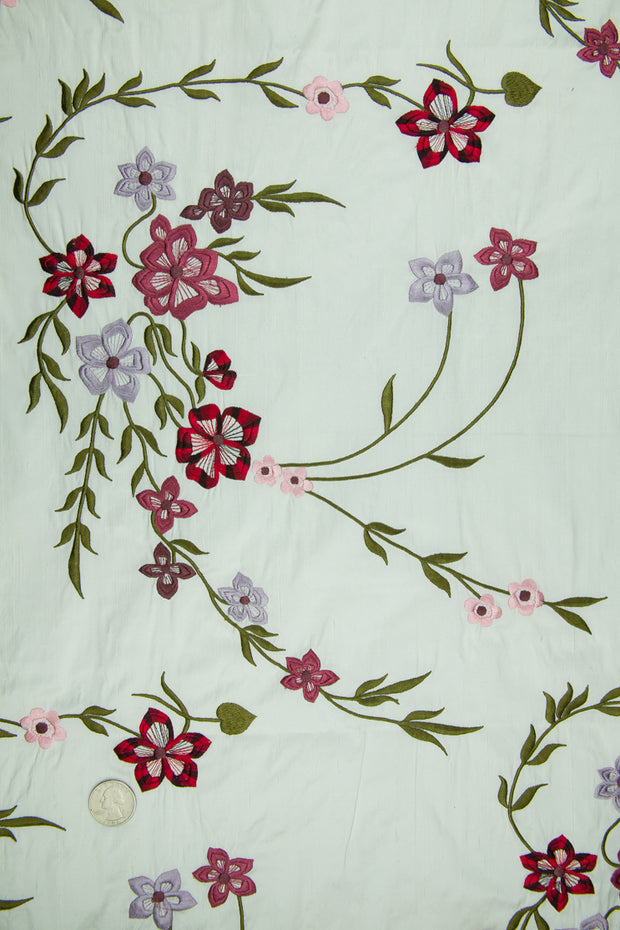 Embroidered Dupioni Silk MED-171/3 Fabric