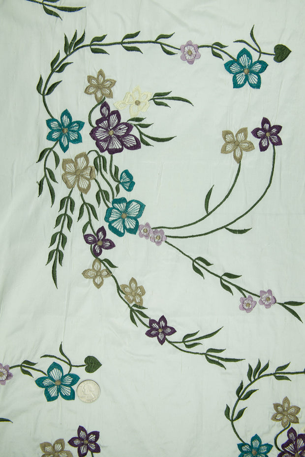 Embroidered Dupioni Silk MED-171/4 Fabric