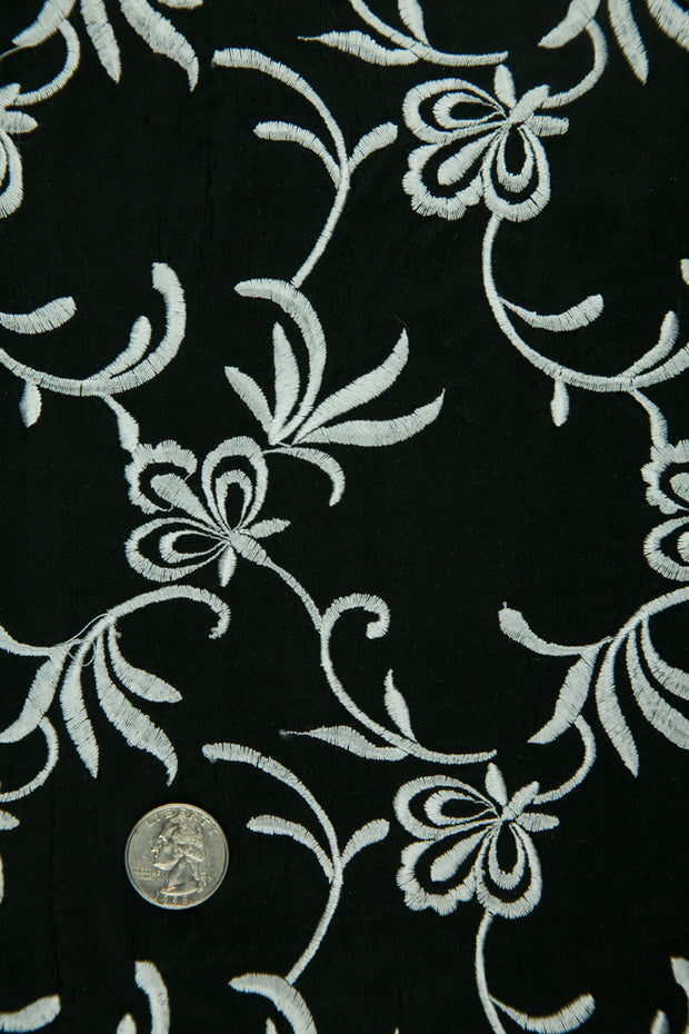 Embroidered Dupioni Silk MED-172/2 Fabric