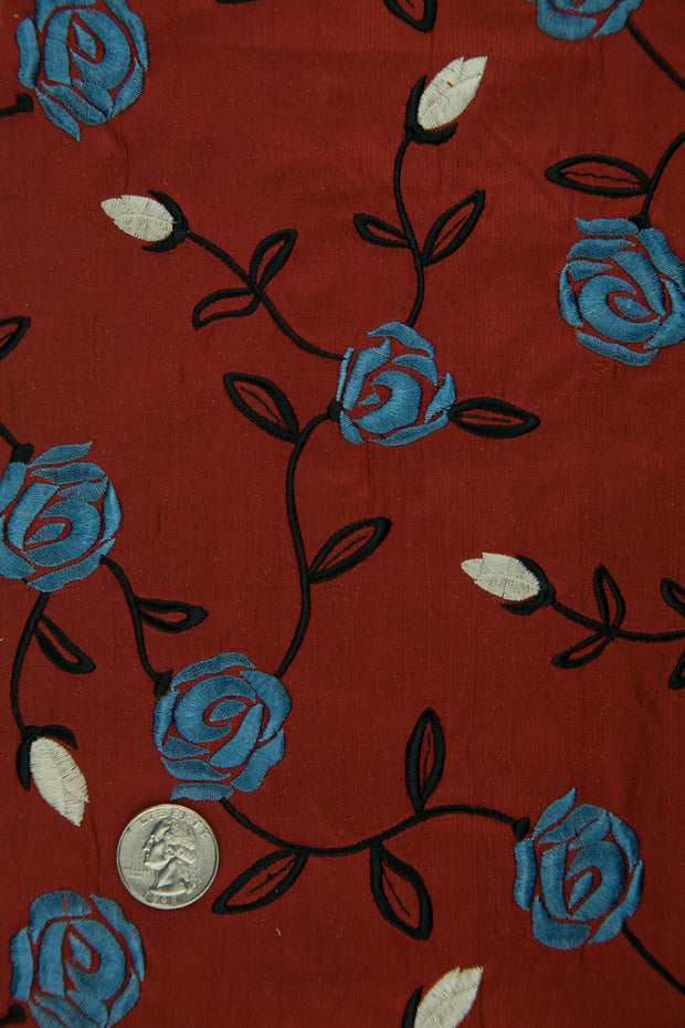 Embroidered Dupioni Silk MED-173/12 Fabric