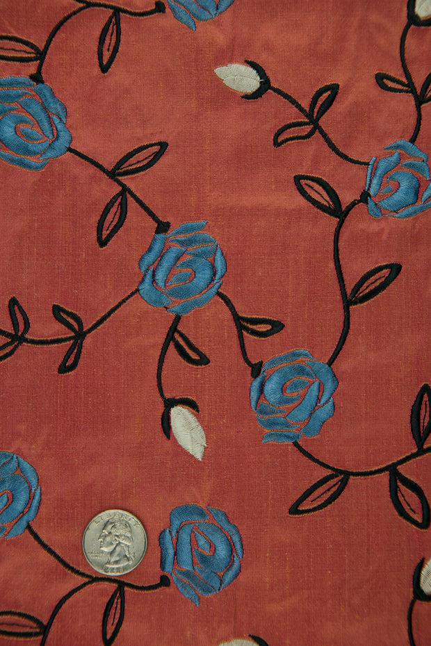 Embroidered Dupioni Silk MED-173/16 Fabric