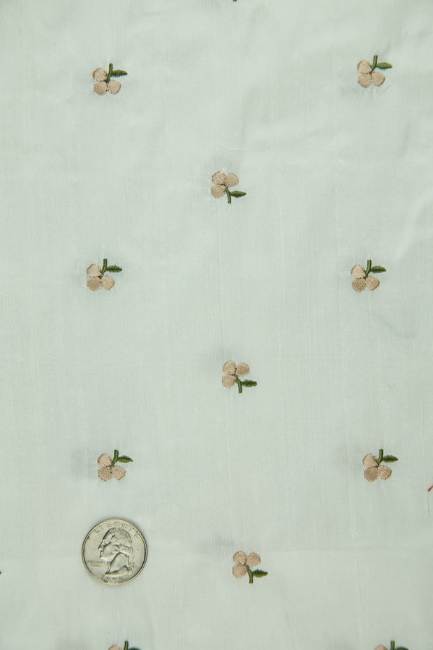 Embroidered Dupioni Silk MED-178/2 Fabric