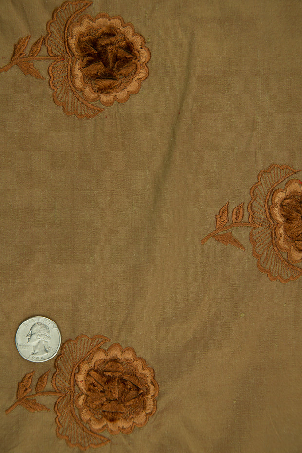 Embroidered Dupioni Silk MED-182/3 Fabric