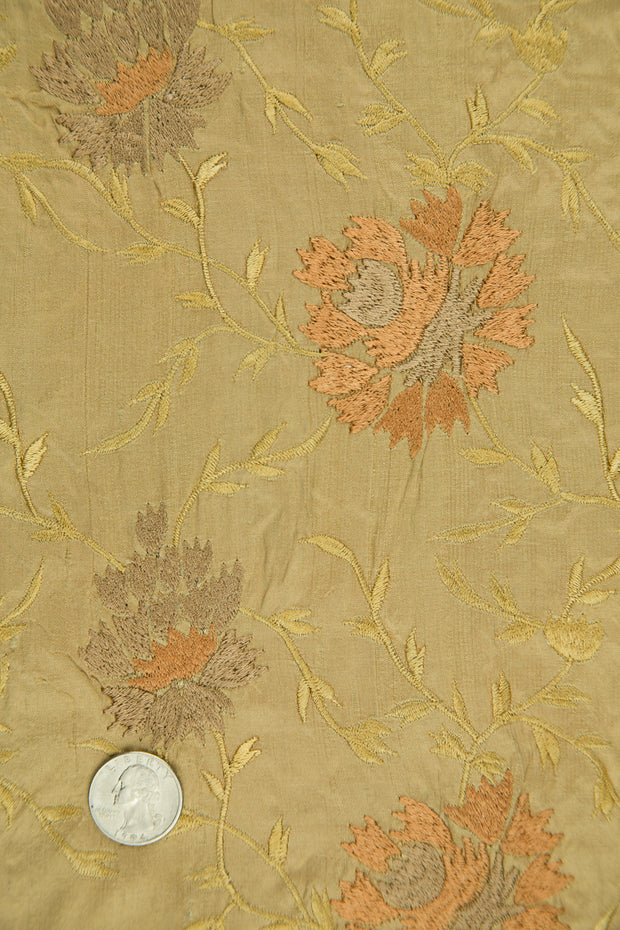 Embroidered Dupioni Silk MED-183/4 Fabric