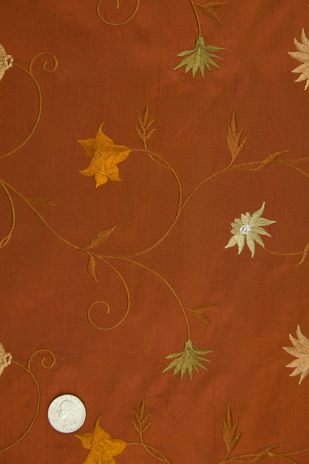 Embroidered Dupioni Silk MED-187/11 Fabric