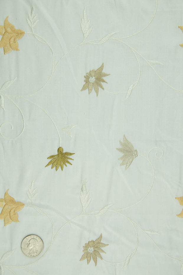 Embroidered Dupioni Silk MED-187/12 Fabric