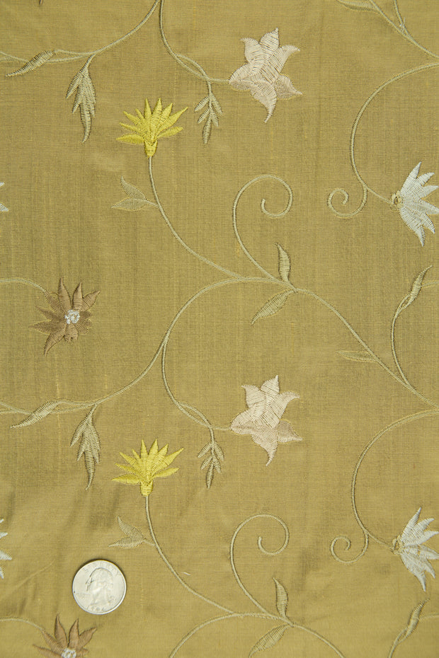 Embroidered Dupioni Silk MED-187/2 Fabric