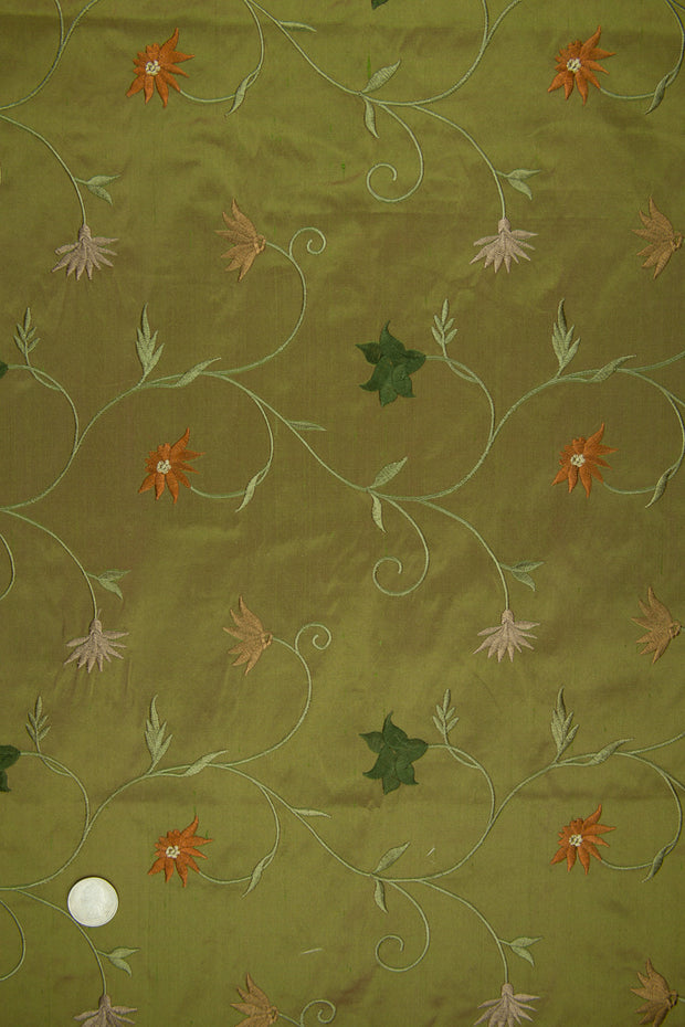 Embroidered Dupioni Silk MED-187/6 Fabric