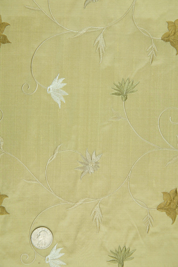 Embroidered Dupioni Silk MED-187/7 Fabric