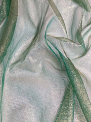 Green Silk Metallic Mesh Fabric