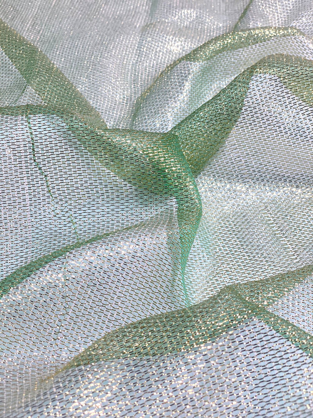 Aqua Silk Metallic Mesh Fabric