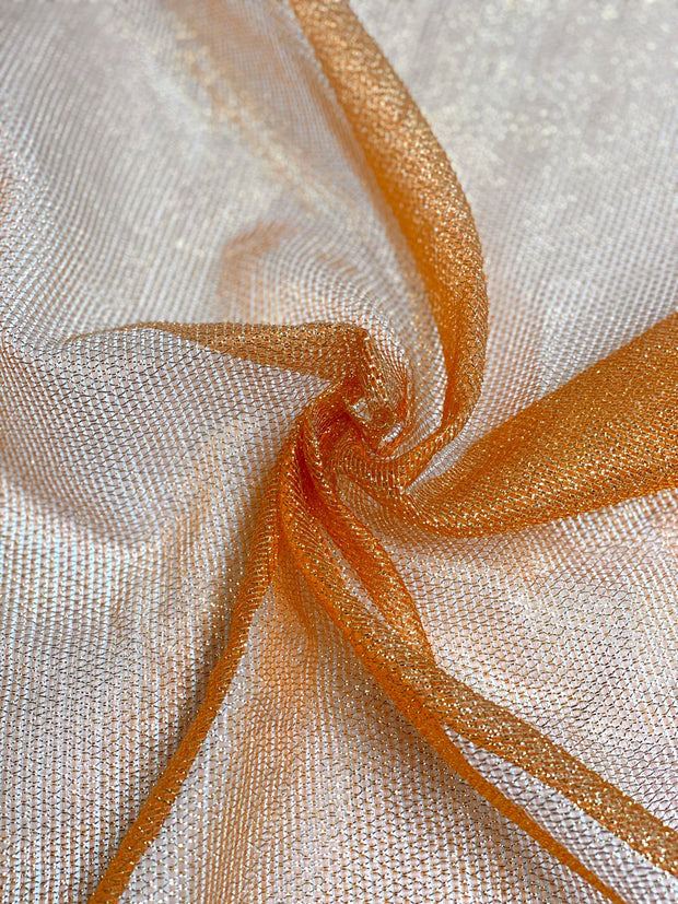 Orange Silk Metallic Mesh Fabric