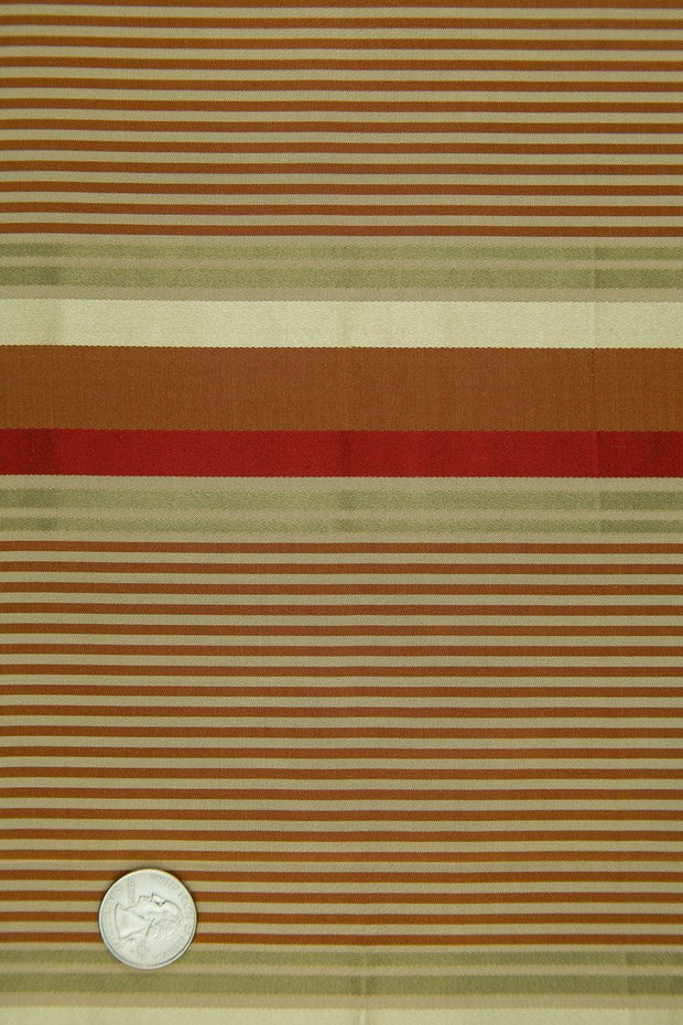 Red Gold Silk Taffeta Plaids & Stripes 086 Fabric