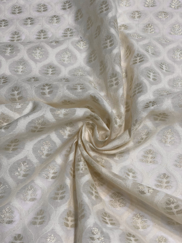 Off White Gold Cotton Blend Novelty 1076 -1 Fabric