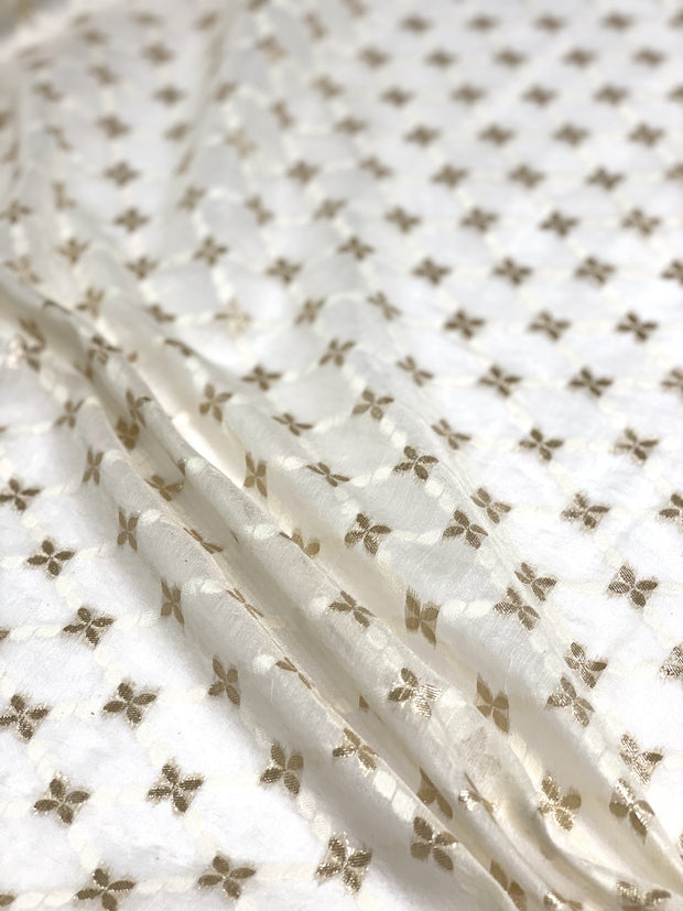Off White Gold Cotton Blend Novelty 1079 -1 Fabric