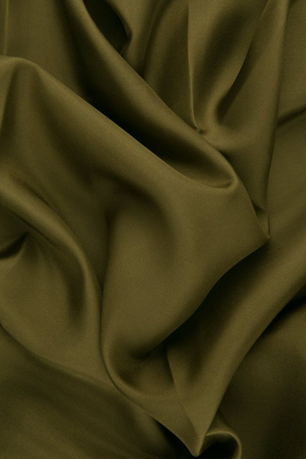 Army Green Habotai Silk Fabric