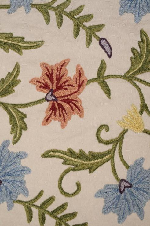 Carnation on Beige Crewel Fabric