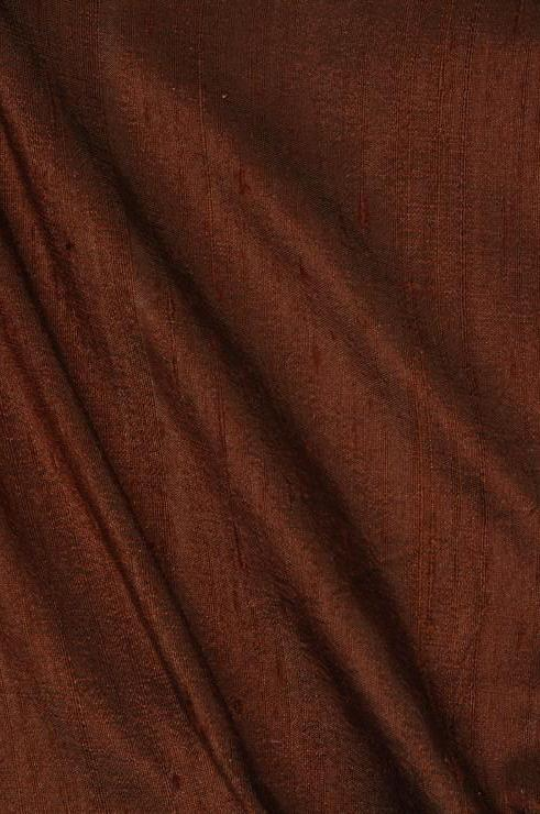 Bison Brown Dupioni Silk Fabric
