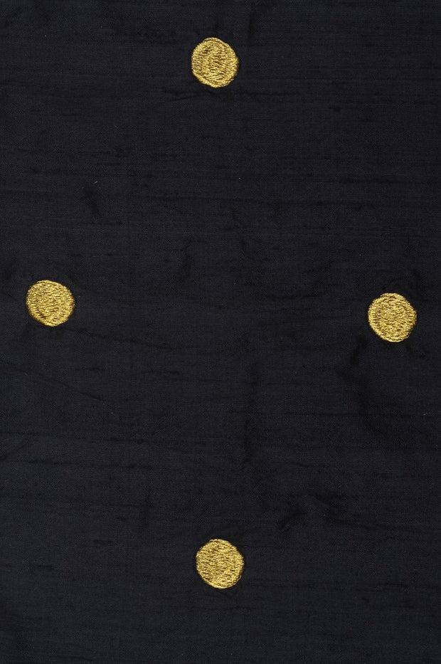 Black Embroidered Dupioni Silk 219 Fabric