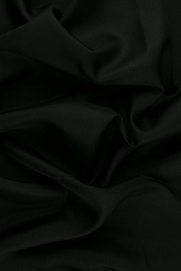 Black Habotai Silk Fabric