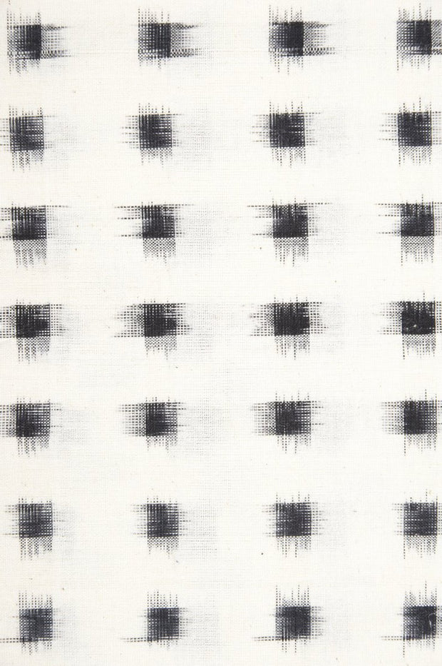Black Off White Cotton Ikat 007 Fabric