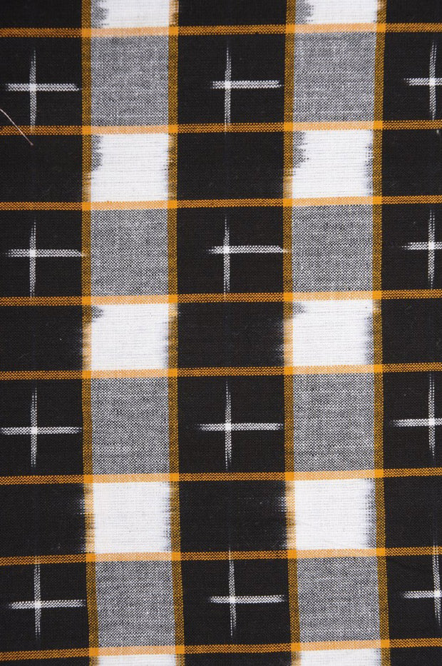 Black Off White Cotton Ikat 112 Fabric