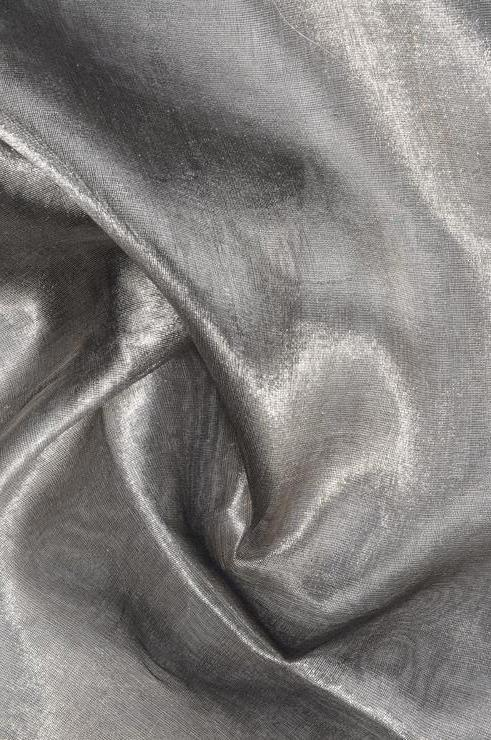 Black Silver Metallic Organza Fabric