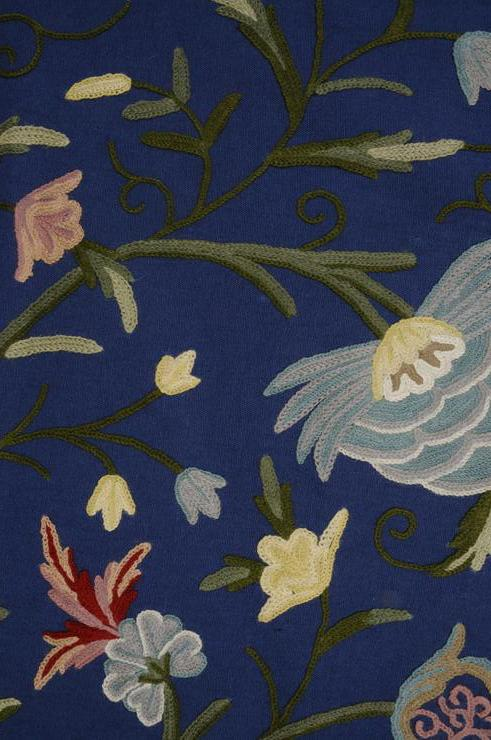 Lily on Blue on Blue Crewel Fabric