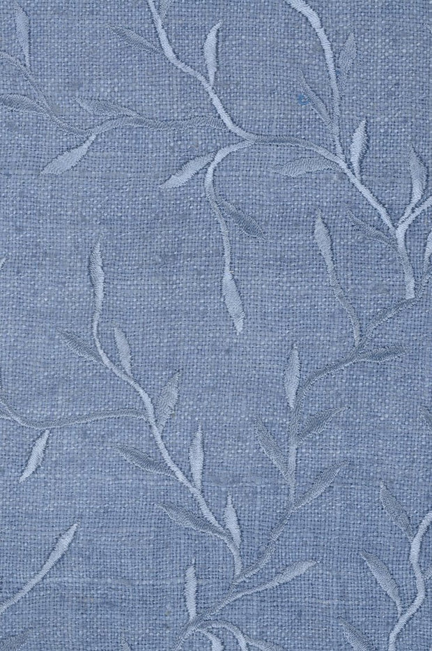Blue Grey Embroidered Raw Silk 300 Fabric