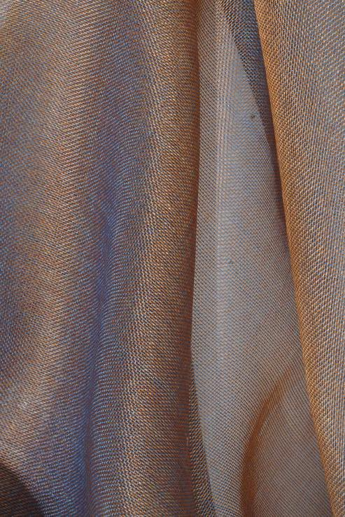 Blue-Grey Rust Silk Organza Fabric