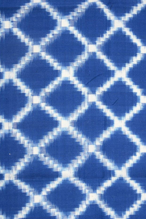 Blue Cotton Ikat 072 Fabric