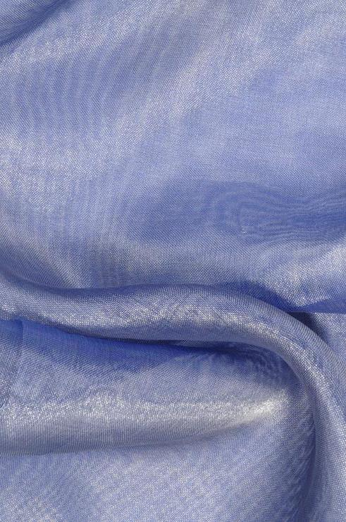 Blue Silver Metallic Organza Fabric