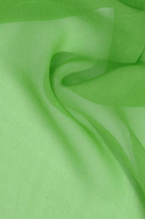 Bright Apple Green Silk Georgette Fabric