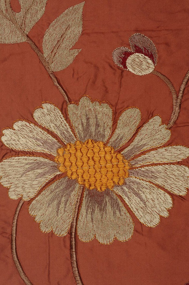 Burnt Orange Embroidered Taffeta Silk 505 Fabric
