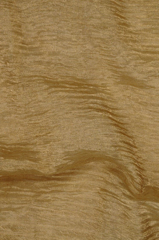 Butter Pecan Gold Metallic Crushed Organza Fabric