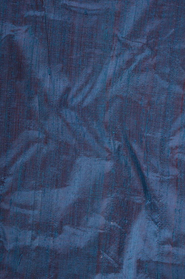 Celestial Blue Red Dupioni Silk Fabric