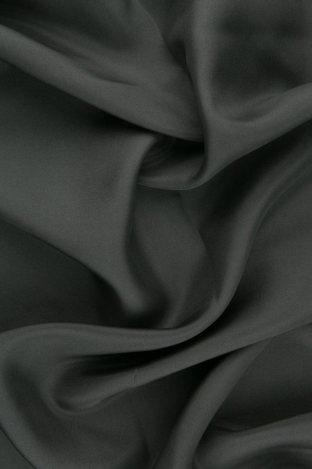 Charcoal Habotai Silk Fabric
