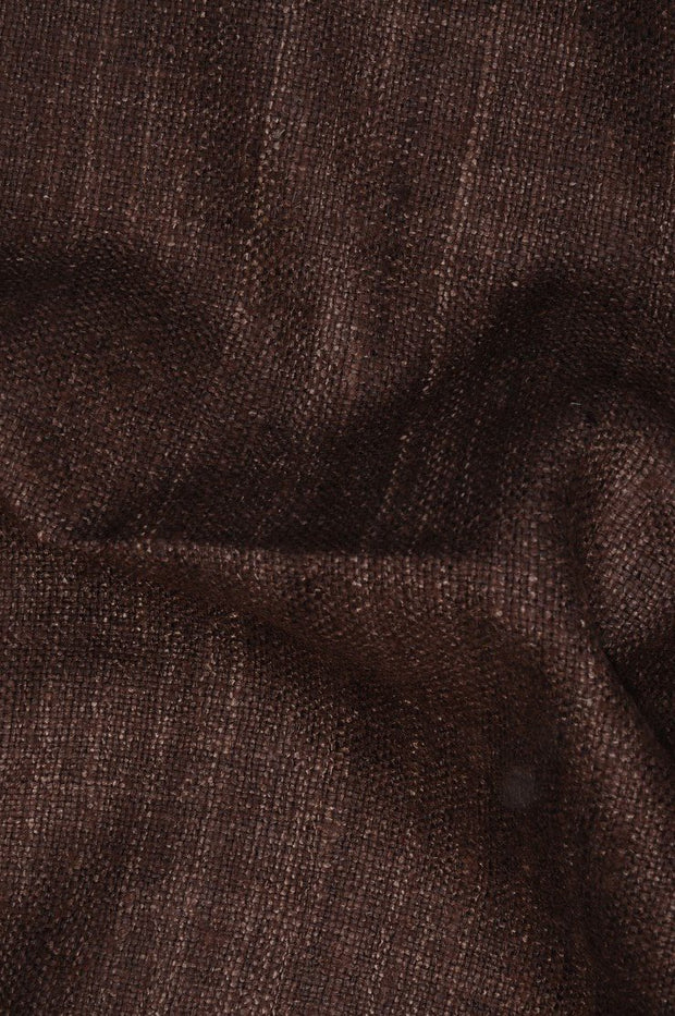 Chestnut Brown Silk Linen (Matka) Fabric
