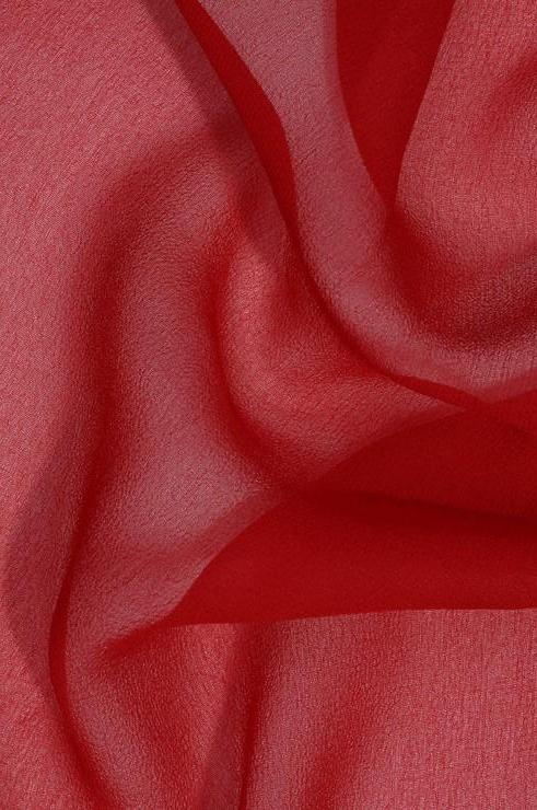 Cranberry Red Silk Georgette Fabric