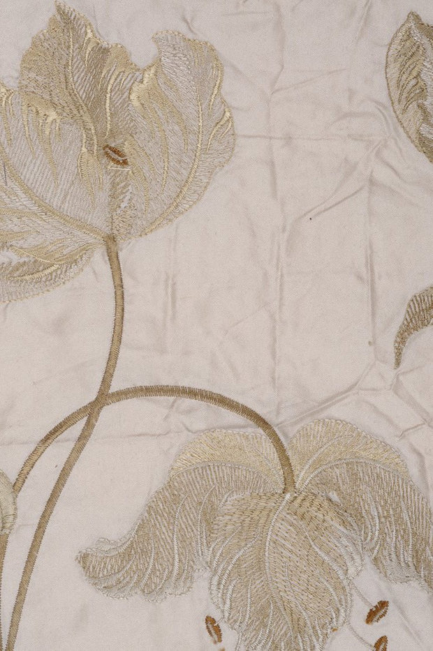 Cream Embroidered Taffeta Silk 504 Fabric