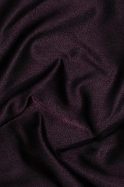 Dark Eggplant Purple Double Face Duchess Satin Fabric