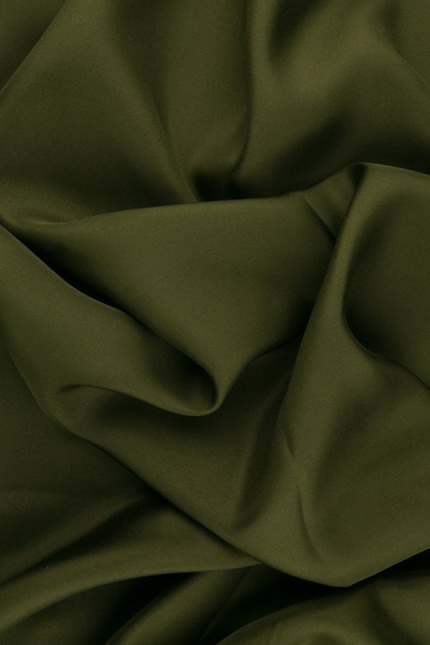 Dark Moss Green Habotai Silk Fabric