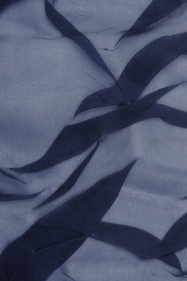 Dark Navy Embroidered Organza Silk 143 Fabric